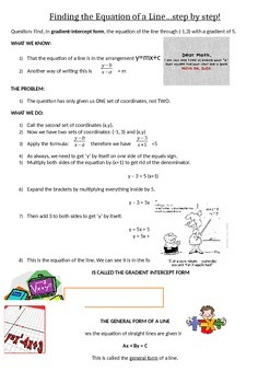 Finding the equation of a line Handout