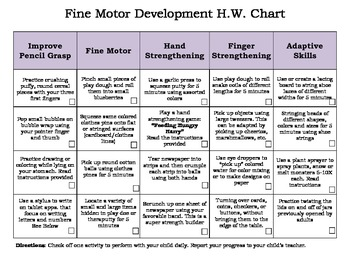 Fine Motor Homework Improvement Activities Chart