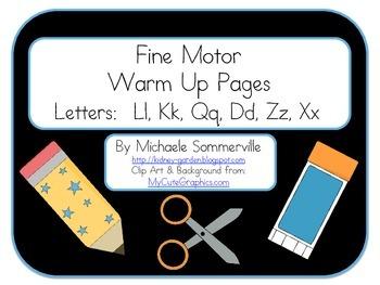 Fine Motor Warm Up Packet: Letters L, K, Q, D, Z, X