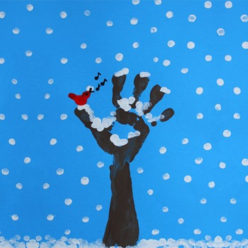 Finger painting: Winter Tree