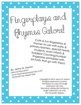 Fingerplay & Rhyme Pack! Printable poems/songs with corres