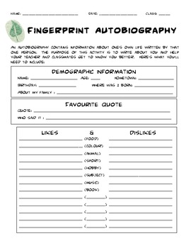Fingerprint autobiography