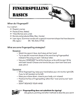 Fingerspelling Basics Homework