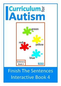 Finish The Sentences Interactive Book- Colors, Autism, Spe