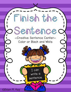 Finish the Sentence Center Freebie