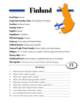 Finland Information & Worksheet