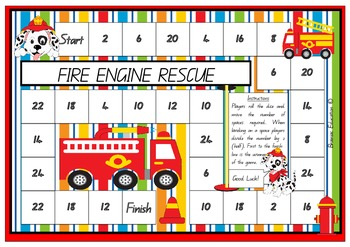 Fire Engine Rescue Dividing By Two Board Game