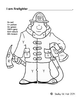 Color by Color Code - Firefighter