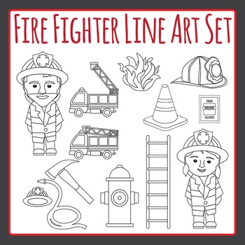 Fire Fighter and Fire Truck Black and White Clip Art Set f