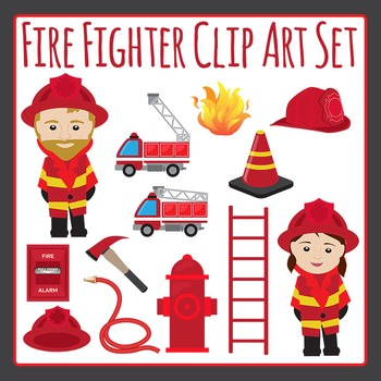 Fire Fighter or Fireman and Fire Truck etc Clip Art Set fo