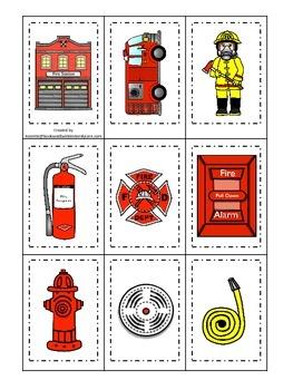 Fire Fighter themed Memory Matching preschool activity.  D