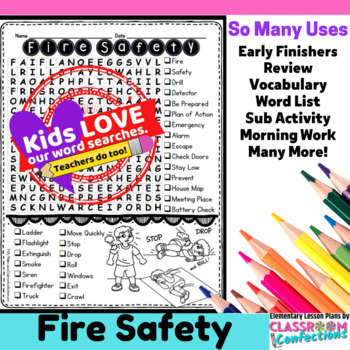 Fire Safety Activity: Fire Safety Word Search