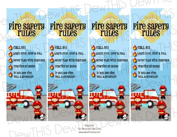 Fire Safety Bookmarks