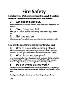 Fire Safety Family Letter