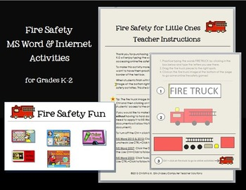 Fire Safety MS Word & Internet Activities for Grades K-2