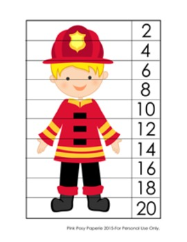 Fire Safety Number Counting Strip Puzzles - 5 Different De