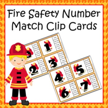 Fire Safety Number Match Clip Cards