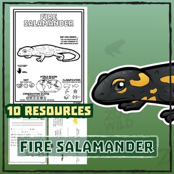 Fire Salamander -- 10 Resources -- Coloring Pages, Reading