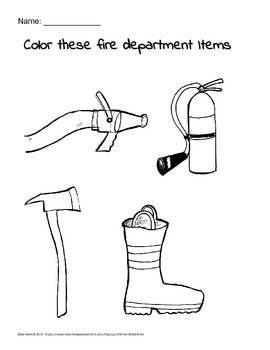 Fire department coloring printable handout for motor skill