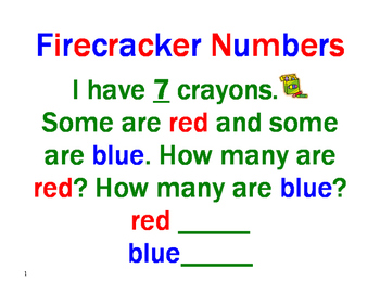 Firecracker Numbers - Decomposing Numbers in Primary Grades