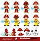 Firefighter Digital Clipart, Fireman boys Clip art, Fire truck .