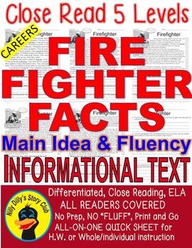 Careers: Firefighter FACTS Main Idea Close Read 5 level pa