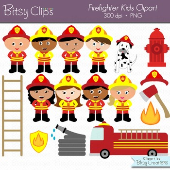 Firefighter Kids Digital Art Set Clipart Commercial Use Cl
