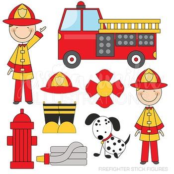Firefighter Stick Figures Cute Digital Clipart, Fire Truck