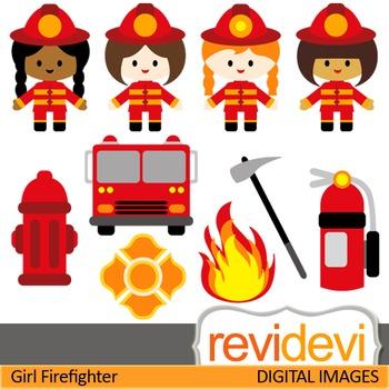 Firefighter clip art (girls) cute digital clipart for teachers
