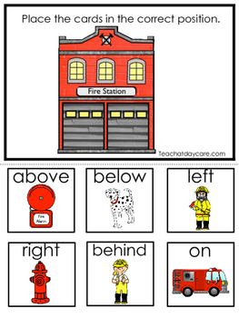 Firefighters themed Positional Game.  Printable Preschool