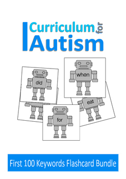 Reading Sight Words 100 Robot Flash Cards, Autism, Special