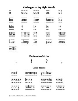First 25 Fry Words, Punctuation Marks, and Color Words