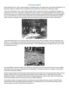 First Battle of Bull Run (Manassas) Primary Source and Questions