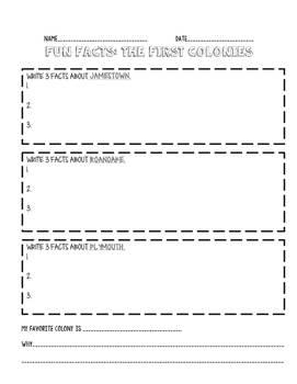 First Colonies Fact Sheet