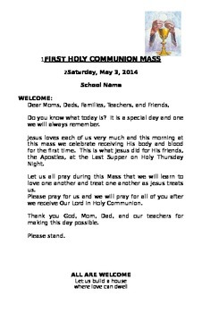 First Communion Booklet