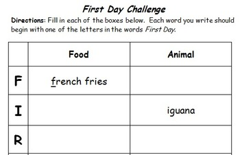 First Day ABC Challenge