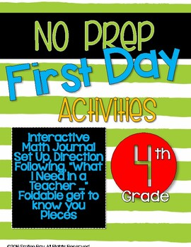 First Day Activities - 4th Grade