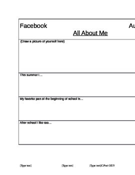 First Day Activity (Facebook All About Me)