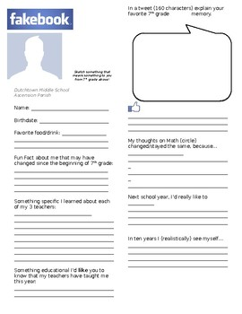 First Day (Editable) Fakebook Activity