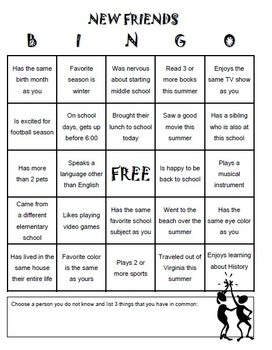 First Day ICEBREAKER Bingo