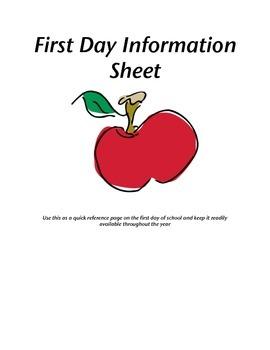 First Day Of School Information Sheet- Classroom Organization