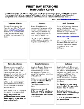 First Day Stations Instruction Cards