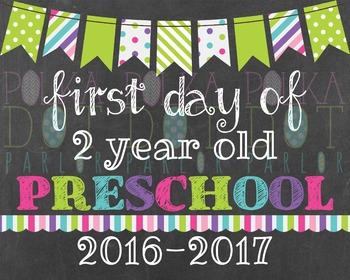 First Day of 2 Year Old Preschool 2016-2017 School Year -