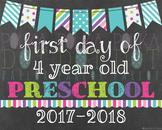 First Day of 4 Year Old Preschool - 2016-2017 School Year