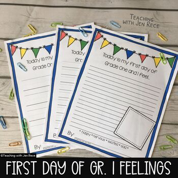 First Day Jitters: Grade One Emotions / Back to School Jitters