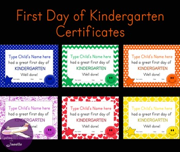 First Day of Kindergarten Certificates - 48 Editable Uniqu