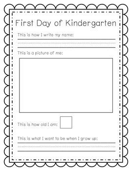 First Day of Kindergarten Snapshot