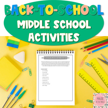 First Day of Middle School Activities