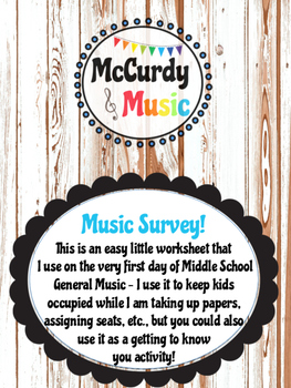 First Day of Music Class Worksheet / General Music / Music Survey