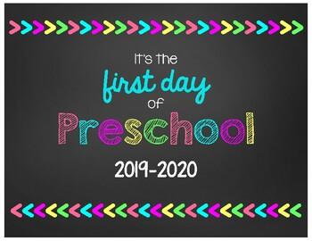 First Day of Preschool Chalkboard Sign